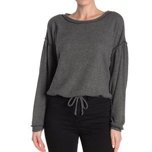 SOCIALITE NEW Front Tie Waffle Knit Crop Sweater